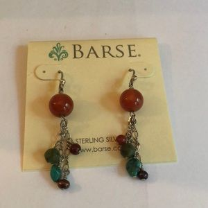 Barse Sterling Silver Beaded Dangle Earrings New